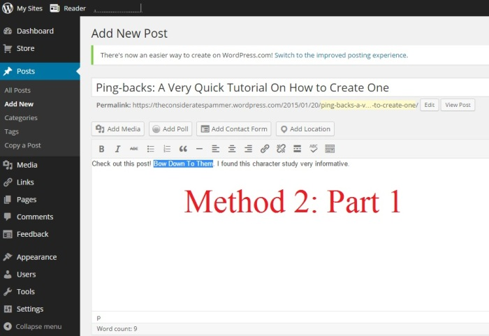 Creating Pingbacks Method 2 Part 1 Select the Anchor Text