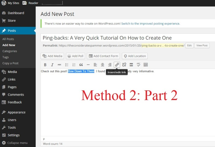 Creating Pingbacks Method 2 Part 2 Inserting the Link