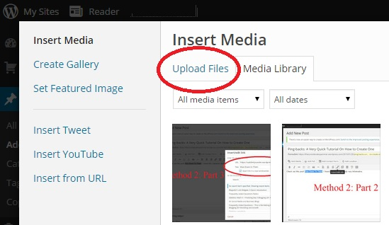 Inserting an Image into a WordPress Post Step 2 Upload an Image