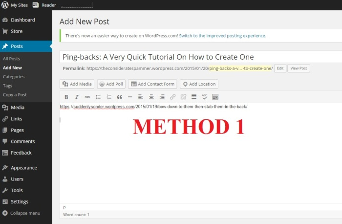 Pingback Method 1 Copying and Pasting the Url of the Other WordPress Blogger's Post