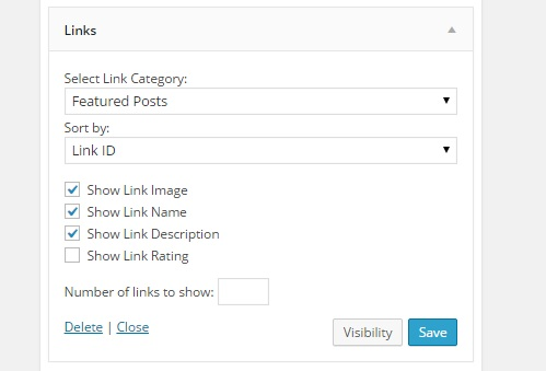 Step 4 Select a category for your links widget to display